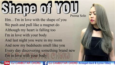who was in my room last shape of you lyrics cover by prema cambodia singers ed sheeran