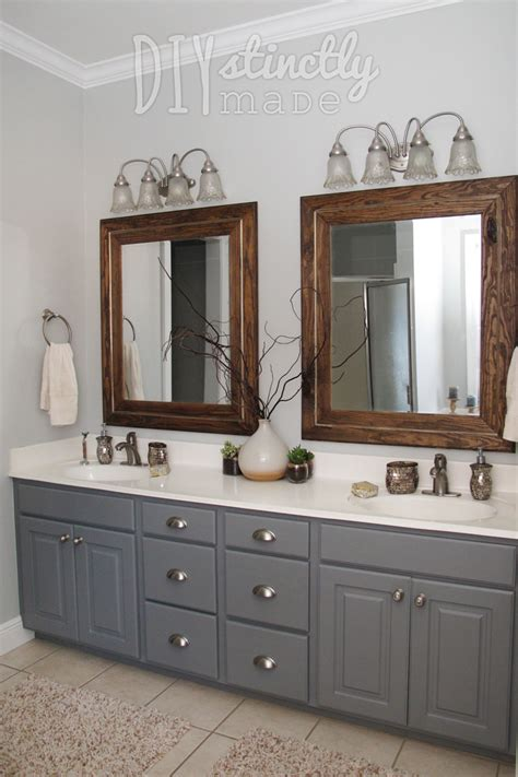 What Color To Paint Bathroom Cabinets by Painted Bathroom Cabinets Gray And Brown Color Scheme