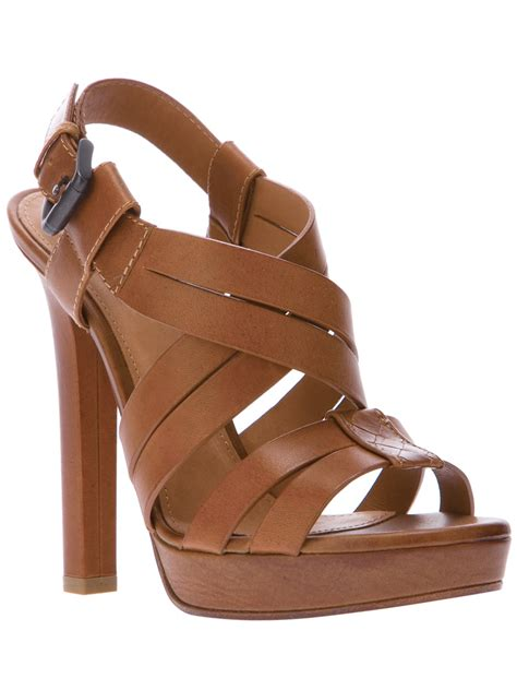 strappy sandals bottega veneta strappy sandals in brown lyst