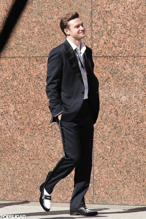 justin timberlake on the set of quot suit tie quot popsugar