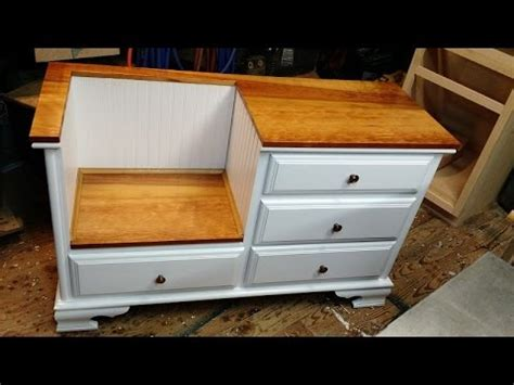 how to make a dresser into a bench diy how to convert dresser to a bench thingy youtube