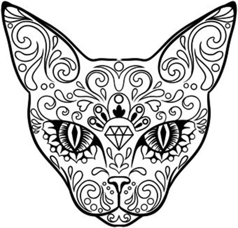 day of the dead cat coloring pages 7 kitty skull 29 downright awesome sugar skulls you re