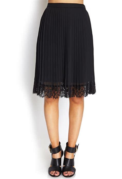 Forever21 Zipper Lace Skirt Branded lyst forever 21 pleats lace midi skirt in black