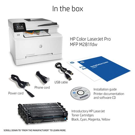 hp laser color printer hp t6b82a color laserjet pro mfp m281fdw wireless