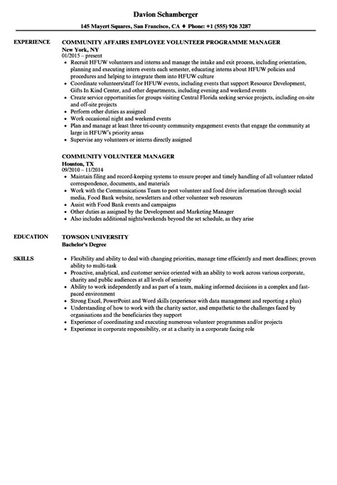 community volunteer resume exle community volunteer resume sles velvet