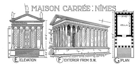 House Plan Drawings maison carree reconstruction rendering plan and elevati