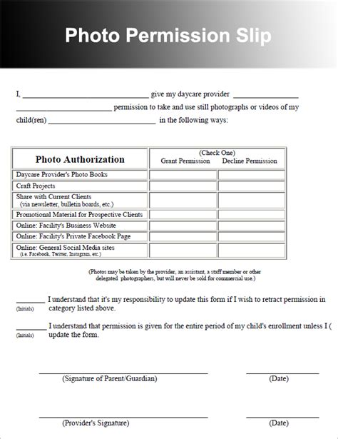Photography Permission Form Template by 36 Permission Slip Templates Free Pdf Doc Formats