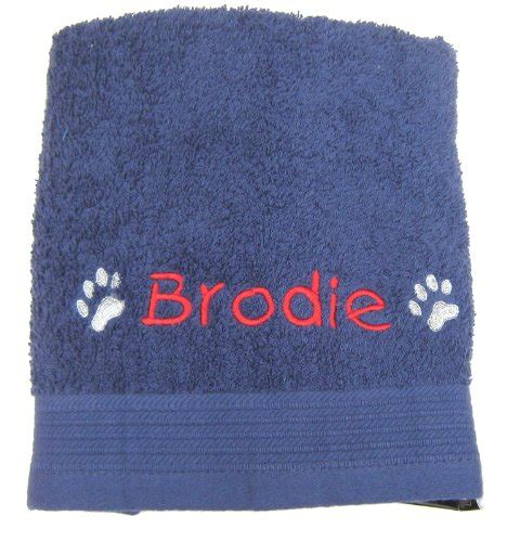 Pet Towel Microfiber Pocket Uk 30x60 personalised cosy paw navy blue travel pet towel for dogs 36 quot x 20 quot