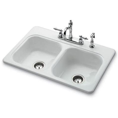 White Porcelain Sink Kitchen Bootz Industries Garnet Ii Top Mount Porcelain 33x22x7 4 Self Bowl Kitchen