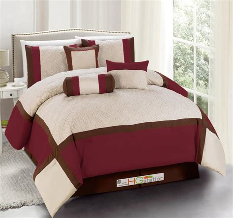 burgundy comforter sets 7 pc quilted square patchwork comforter set