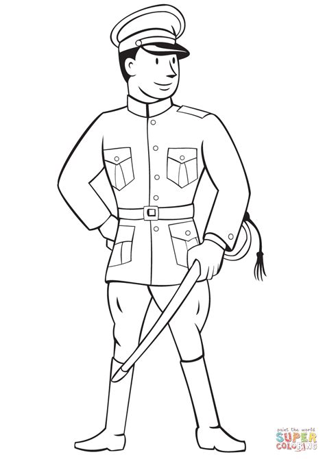 World War 1 Officer Coloring Page Free Printable World War 1 Coloring Pages