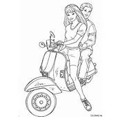 Coloring Page  Barbie And Ken On Scooter Coloringme