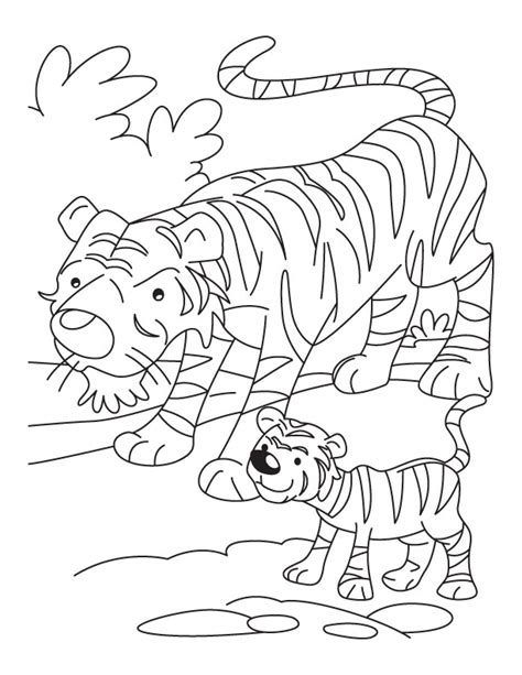 tiger cub with mother tiger coloring page download free