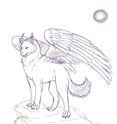 sketchbook anime wolf 120 pages of 8 5 x 11 blank paper for drawing books winged wolf sketch by stalaxy on deviantart