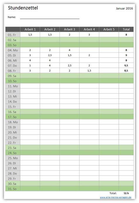 Kostenlose Vorlage Arbeitszeiterfassung Stundenzettel Alle Meine Vorlagen De