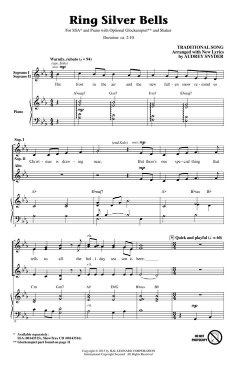 printable lyrics for silver bells ring silver bells choral ssa sheet music by by audrey