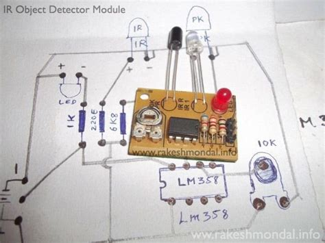 board circuit of photodiode infrared ir object detection module circuit using ir led and photodiode