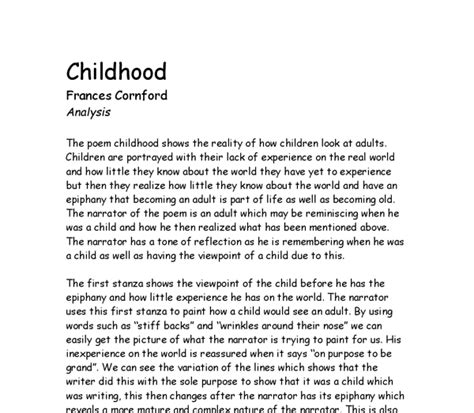 Childhood Experience Essay by Poem Analysis Quot Childhood Quot By Frances Cornford Gcse Marked By Teachers
