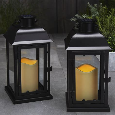 Lantern Solar Lights Outdoor Lights Flameless Candles Lanterns Solar 11 5 Quot Black Metal Flameless Lantern Set Of 2