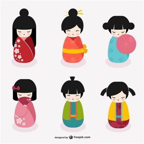 imagenes japonesas tiernas mu 241 ecas kokeshi japonesas descargar vectores gratis