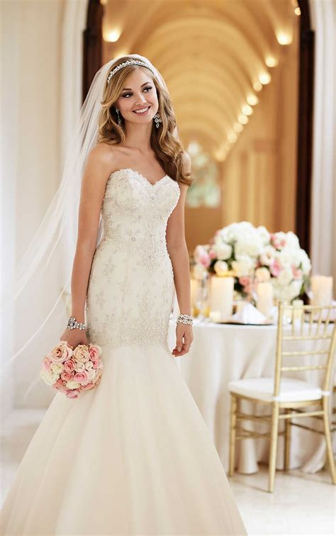 sparkly fit  flare wedding dress  train stella york