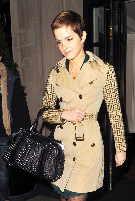 emma watson jacket emma watson s burberry studded shoulder bag news and