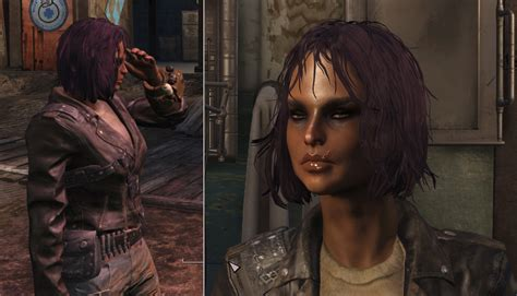 fallout 4 hair color dyed hair purple with dark eyebrows mod download