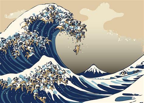 great wave  pug   wave art waves wallpaper