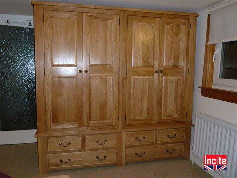 custom bedroom wardrobes custom handmade to measure oak 4 door drawer wardrobe