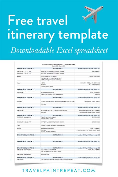 travel itinerary template    plan   trips