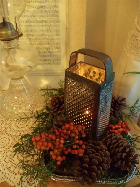 rustic christmas table decor vintage cheese grater with