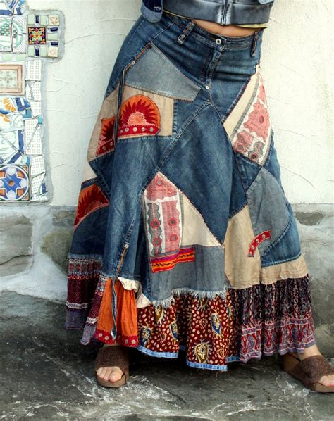 How To Make A Patchwork Skirt - banjara patchwork recycled denim skirt hippie boho