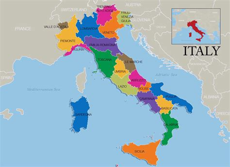 map of and italy map of italy regions and cities images