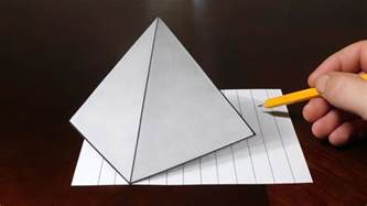 How To Make 3d Pyramid With Paper - how to draw 3d pyramid on line paper trick
