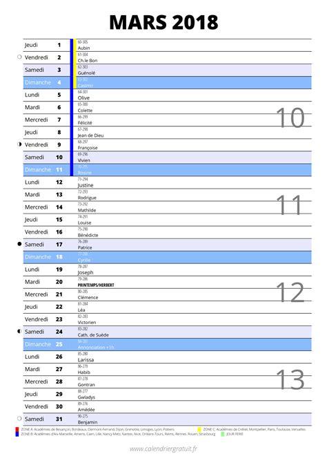 Calendrier Mars 2018 Calendrier De Mars 2018 224 Imprimer