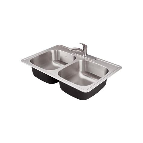 American Standard Stainless Steel Kitchen Sink Shop American Standard 22 In X 33 In Stainless Steel Basin Drop In 3 Residential