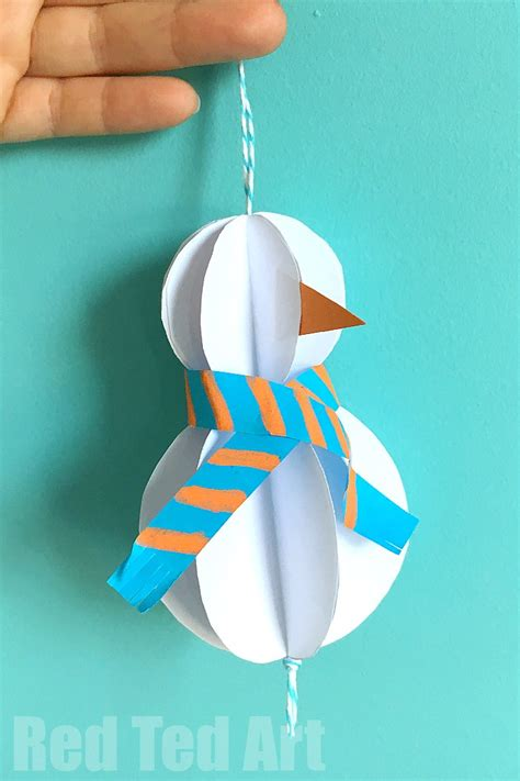 How To Make A 3d Snowman Out Of Paper - easy paper snowman ornaments ted s