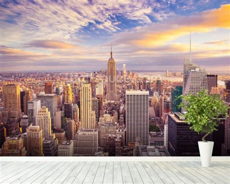 manhattan wall mural midtown manhattan sunset wallpaper wall mural wallsauce usa