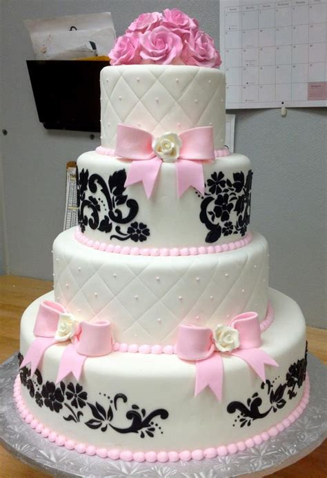 Black And Pink Baby Shower Cakes by Black White And Pink Damask Cake Baby Shower Ideas