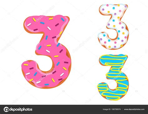 Donuts Number sweet donut font number 3 stock vector 169 anitta fed