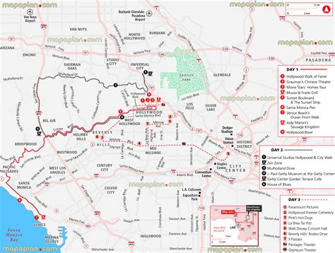 printable route planner usa map of sunset blvd los angeles my blog