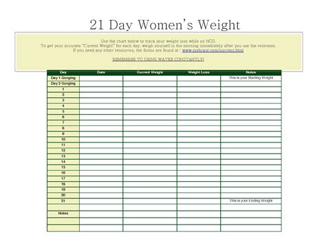 hcg weight loss chart printable weight loss simple