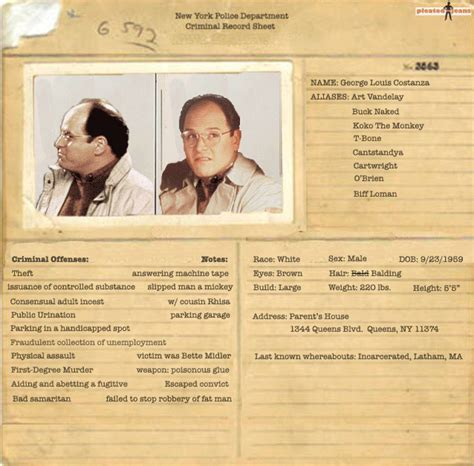 Criminal Record Information Exclusive Criminal Records For The Cast Of Seinfeld Pics Pleated