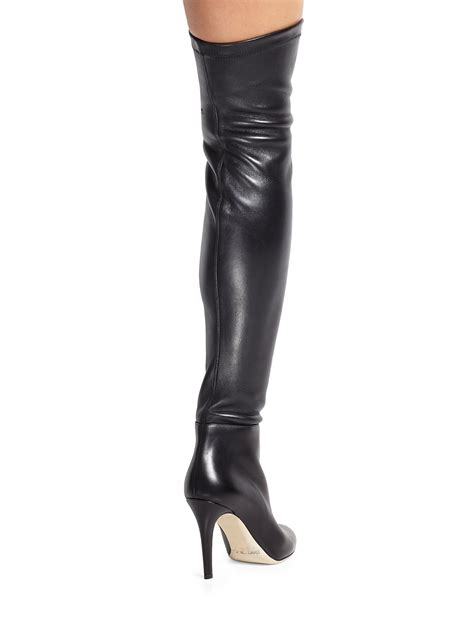 the knee leather boots lyst jimmy choo toni leather the knee boots in black