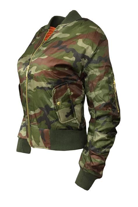 Jaket Jaket Pilot Bomber Scoot Army new retro army bomber jacket womens camouflage