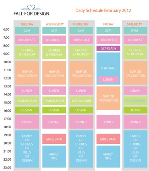 9 best images of printable daily schedule for daily
