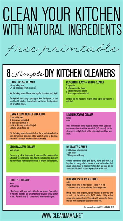 clean your kitchen 8 simple diy kitchen cleaners free printable clean mama
