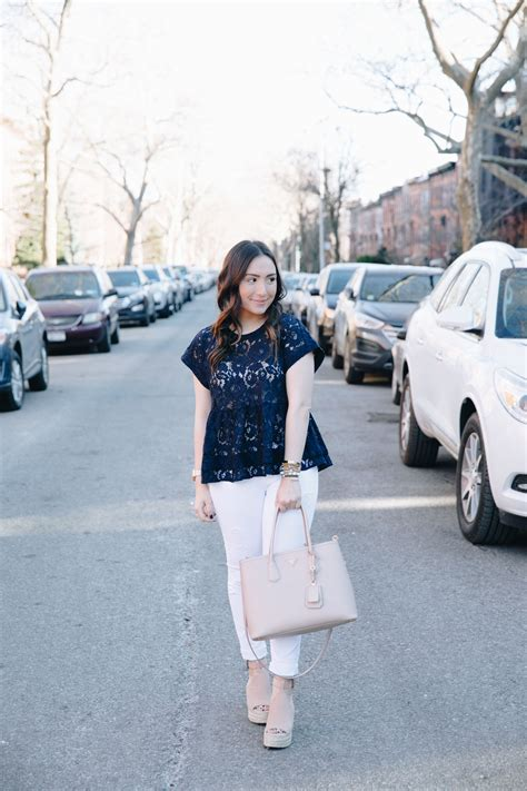 Tas Pesta Lace Navy Blue navy peplum lace top the fashionista s diary