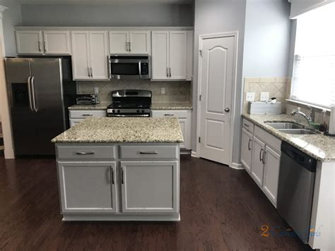 Kitchen Cabinets and Island Painted Balboa Mist at Laurel