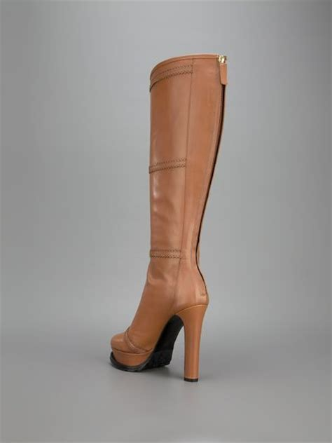 moschino cheap chic platform knee high boot in brown lyst